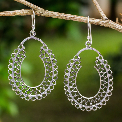 Sterling Silver Handmade Dangle Earrings from Thailand 'Halo of Lace'
