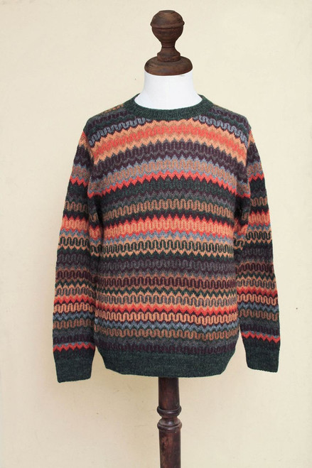 9aef48f42367 Multicolor Alpaca Men s Sweater with Forest Green  Andean Homeland ...