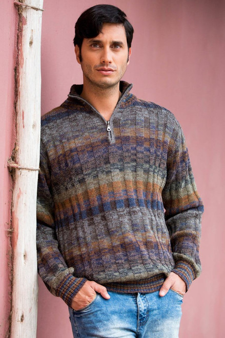 Peruvian 100% Alpaca Men's Sweater with Zipper 'Traveler'