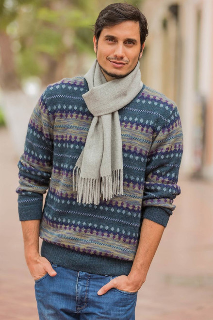 Men's Patterned Andean 100% Alpaca Sweater in Shades of Blue 'Cajamarca Blues'