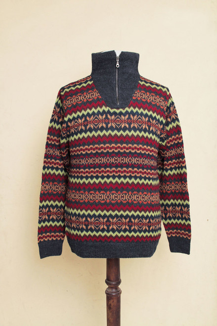 Multicolor Men's Alpaca Sweater with a Zipper Turtleneck 'Earth Tribute'