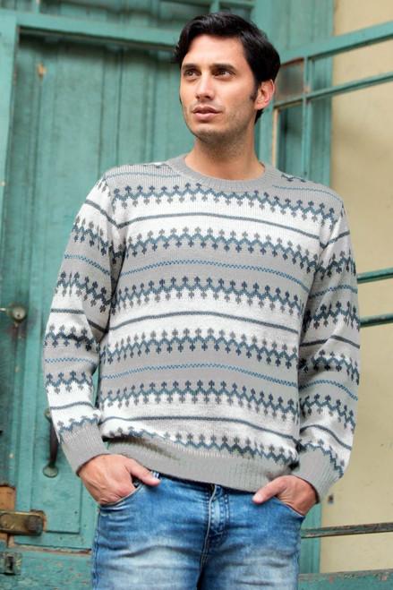 Knitted Grey 100% Alpaca Wool Men's Sweater 'Mountain Mist'