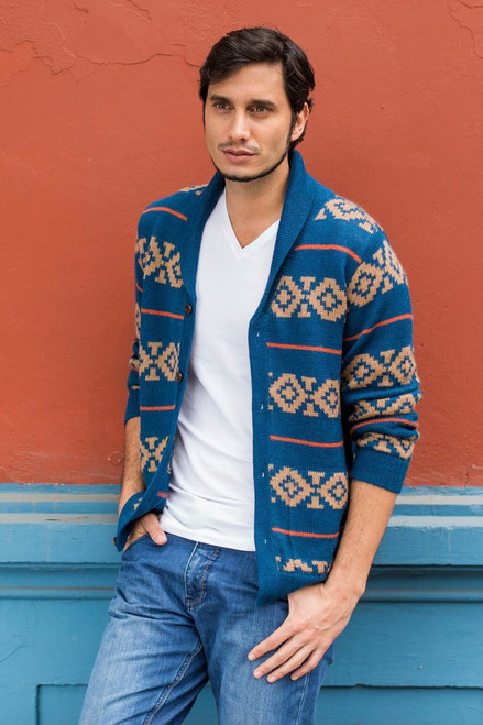 Men's Blue and Brown Alpaca Cardigan Sweater from Peru 'Blue Chakana'