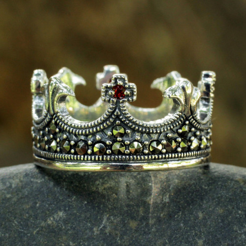 Handmade Thai Silver Crown Ring with Garnet and Marcasite 'Coronation'