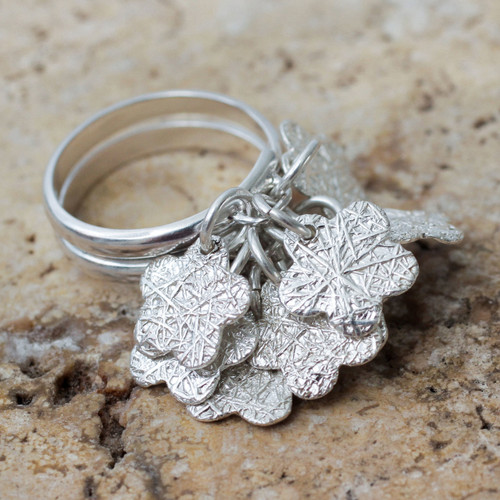 Handcrafted Sterling Silver Cocktail Ring from Peru 'Tarma Flowers'