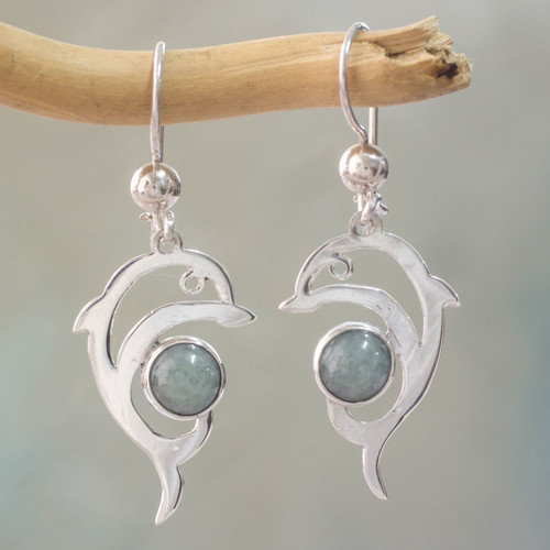 Handmade Silver Dolphin Earrings with Light Green Maya Jade 'Pale Green Dolphin'