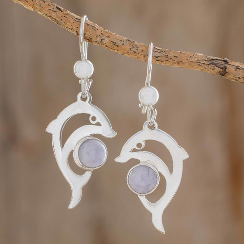 Handmade Silver Dolphin Earrings with Lilac Maya Jade 'Lilac Dolphin'