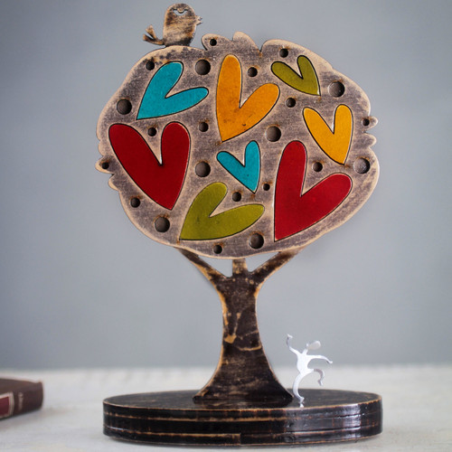Colorful Peruvian Tree Sculpture with Hearts and Bird 'Tree of Love'