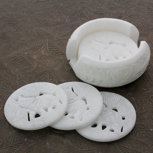Artisan Crafted White Marble Coasters and Holder (Set of 6) 'Indian Elephant'