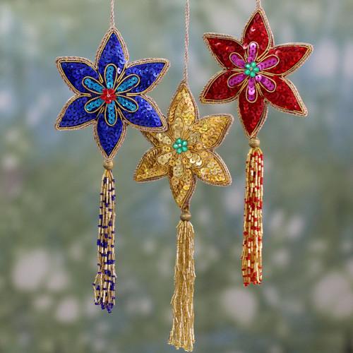 Handmade Beaded Sequin Colorful Christmas Ornaments (3) 'Poinsettia'