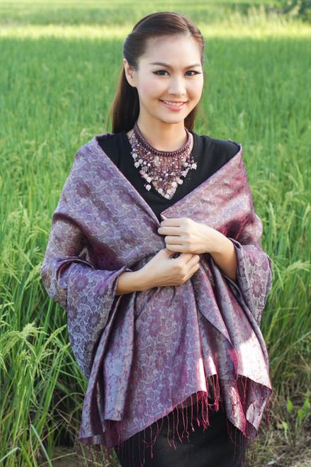 Rich Purple and Gray Rayon Blend Jacquard Shawl 'Mandarin Dusk'