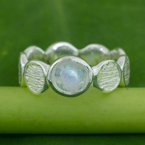 Rainbow Moonstone on Sterling Silver Band Ring 'Connecting'