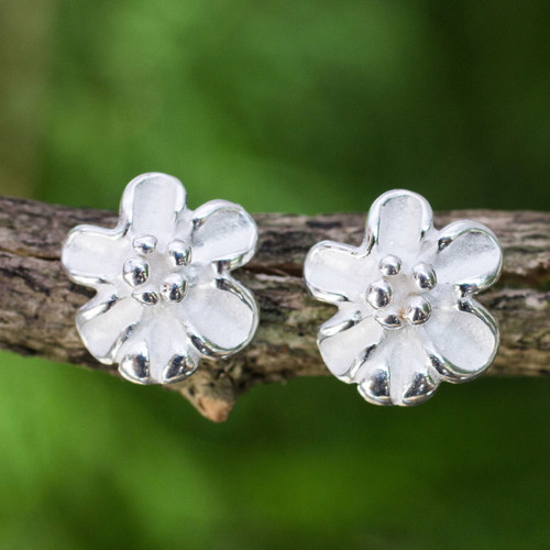 Handcrafted Sterling Silver 925 Flower Button Earrings 'Petite Bloom'
