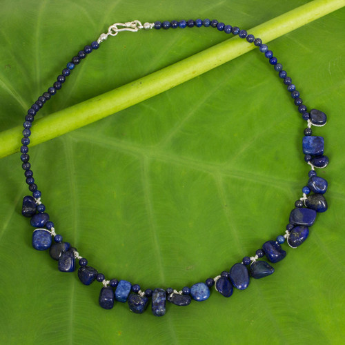 Fair Trade Lapis Lazuli Bead Necklace with Silver Clasp 'Bold in Blue'