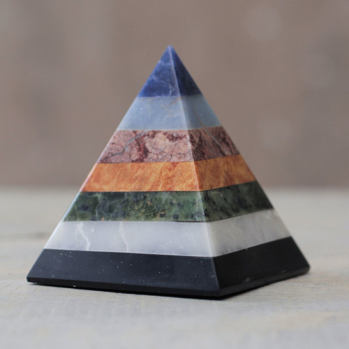 Artisan Crafted Seven Gem Pyramid Sculpture from the Andes 'Positive Spirituality'