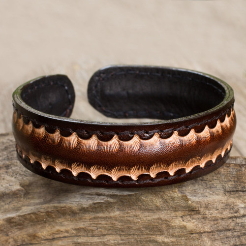 Dark Brown Leather Cuff Bracelet for Men from Thailand 'Dark Warrior'