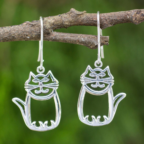 Cute Sterling Silver Cat Dangle Earrings from Thai Artisan 'Whimsical Cat'