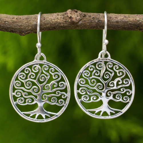 Handcrafted 925 Sterling Silver Tree Dangle Earrings 'Spiral Tree'