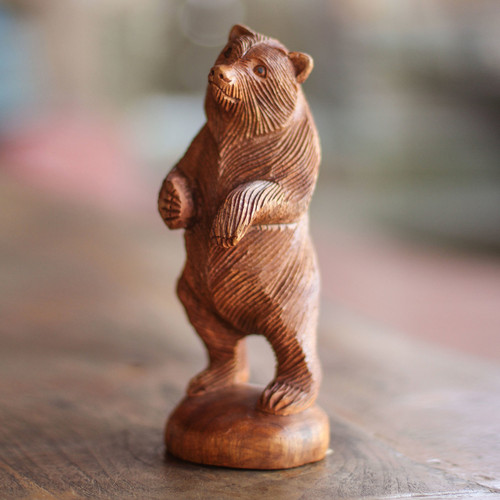 Hand Carved Wood Statuette of Standing Brown Bear 'Inquisitive Brown Bear'