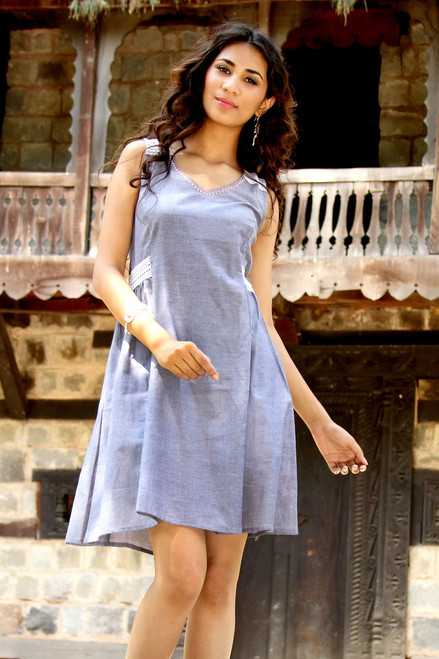 Lace Trim Blue 100% Cotton Chambray Dress from India 'A Touch of Lace'