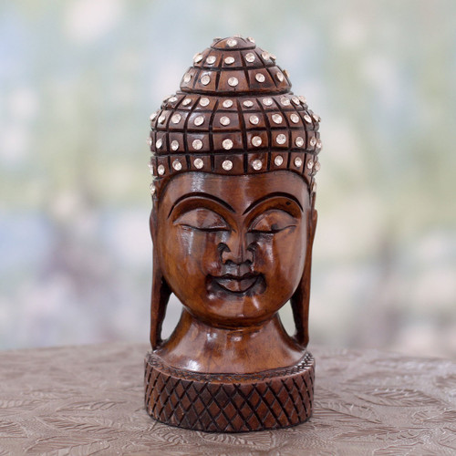 Indian Artisan Crafted Glistening Buddhism Wooden Sculpture 'Serene Buddha'