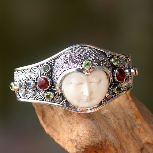 Hand Carved Bone, Silver, and Gemstone Cuff Bracelet 'Moon Empress'