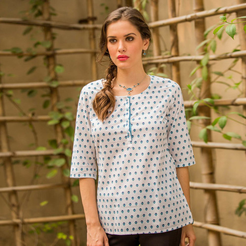 Casual White Cotton Tunic with Blue Floral Print 'Blue Blossoms'