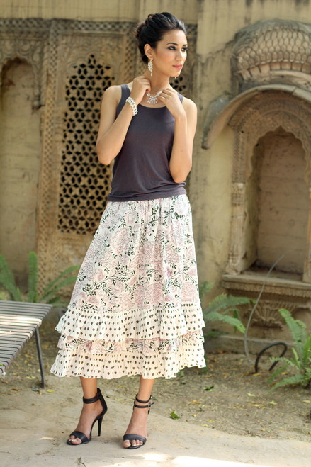 White Floral Screen Print Skirt with Ruffled Hem 'Earth Collection'