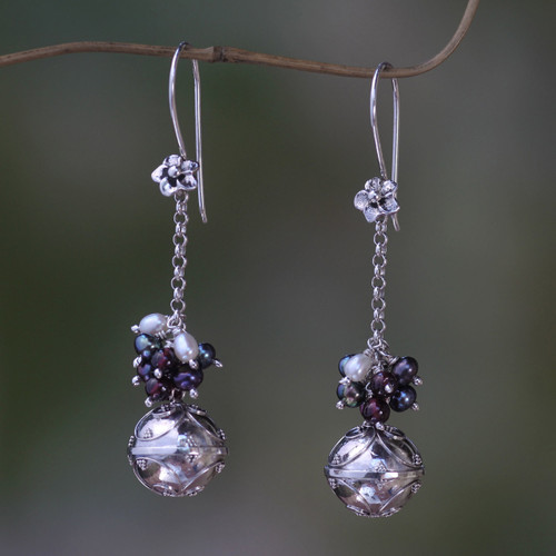 Fair Trade Chime Earrings in Sterling with Pearl and Garnet 'Bali Chime'