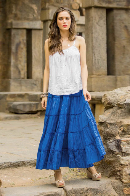 Long Royal Blue Cotton Ruffled Skirt from India 'Blue Frills'