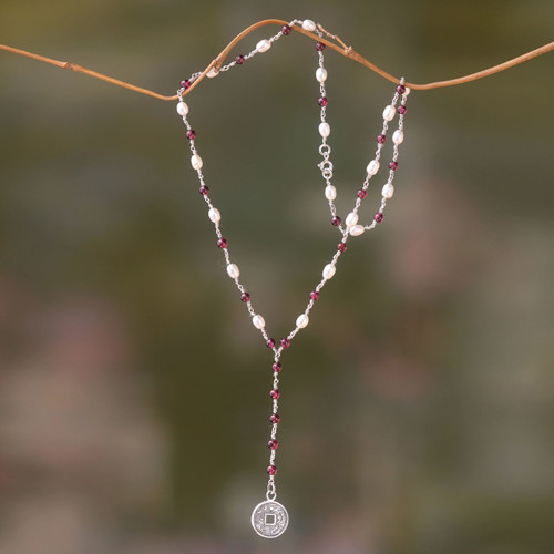 Y-Necklace with 925 Sterling Silver, Garnets and Pearls 'Ivory and Crimson Pis Bolong'