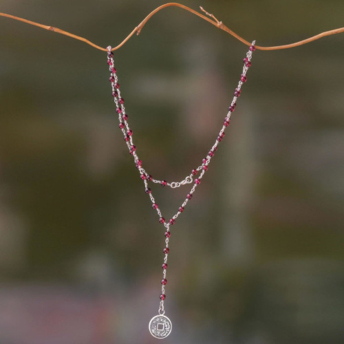 Garnet and Sterling Silver Necklace with Lucky Coin 'Crimson Pis Bolong'