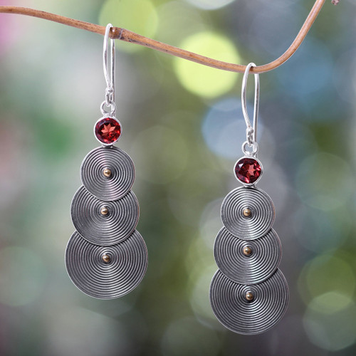 Sterling Silver and Garnet Earrings with 18k Gold Accent 'Ripple Effect'