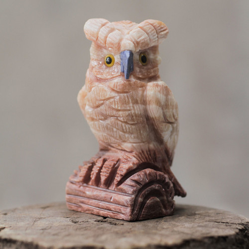 Artisan Crafted Pink Calcite Bird Sculpture from Peru 'Rosy Owl'