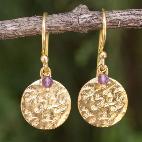 Artisan Crafted 24k Gold Plated Amethyst Earrings Thailand 'Purple Harvest Moon'