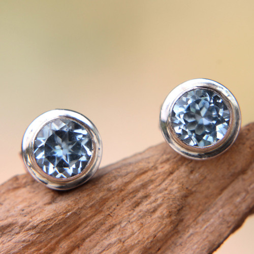 Classic Blue Topaz and Sterling Silver Round Stud Earrings 'Blue Simplicity'