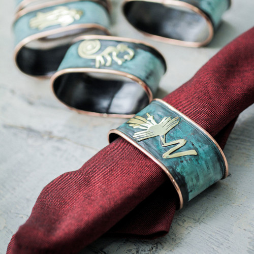 Copper Napkin Rings with Bronze Nazca Images (Set of 6) 'Nazca Marvels'