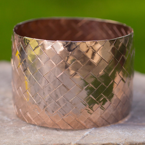 Hand Woven Pink Gold Plated Copper Bangle Bracelet 'Chuspata Charm'