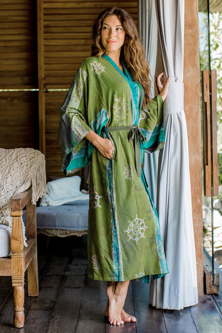 Handmade Batik Women's Robe from Bali in Shades of Green 'Pancaroba'