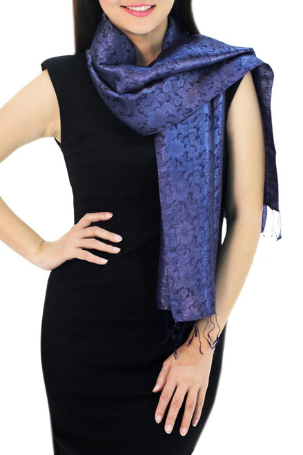 Dark Blue Woven Floral Scarf from Thailand 'Navy Blue Bouquet'