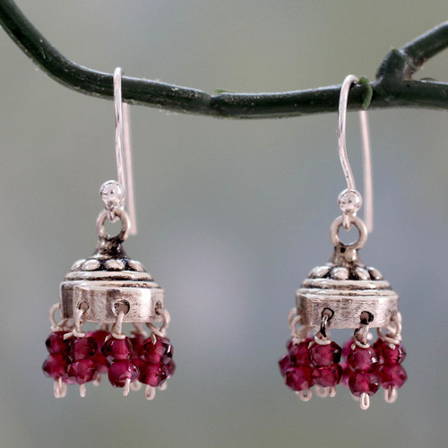 Jhumki Style Earrings with Sterling Silver and Garnets 'Traditional Grace'