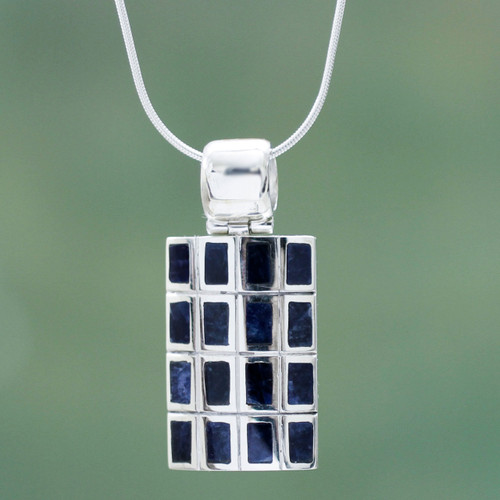 Hand Crafted Andean Silver and Sodalite Pendant Necklace 'Honeycomb'