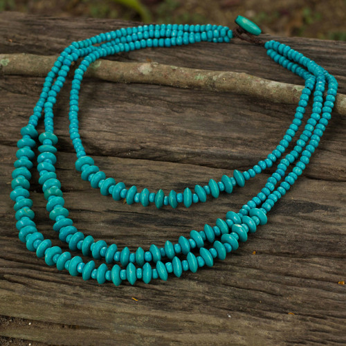 Blue Beaded Wood Waterfall Necklace Artisan Crafted Jewelry 'Happy Blue'