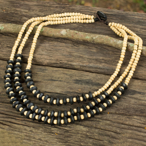 Artisan Crafted Black Beige Wood Beaded Waterfall Necklace 'Happy Black Beige'