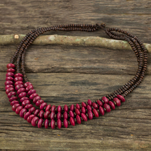 Red Brown Beaded Wood Waterfall Necklace from Thailand 'Happy Red Brown'