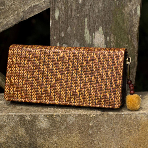 Woven Paper Cord Wallet Lined in Cotton from Thailand 'Fishtail'