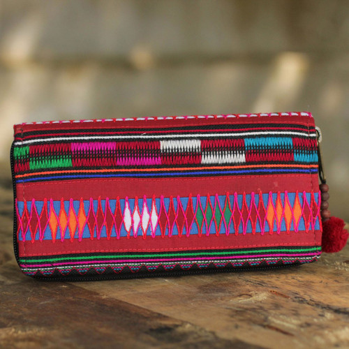 Multicolored Cotton Bifold Wallet Crafted by Thai Artisan 'Akha Pride'