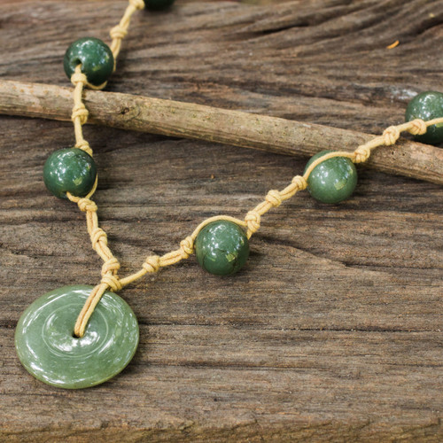 Jade Pendant Necklace on Knotted Cords from Thailand 'Natural Spirit'