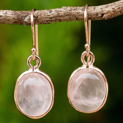 Rose Quartz Dangle Earrings with 18k Rose Gold Plate 'Morning Rose'