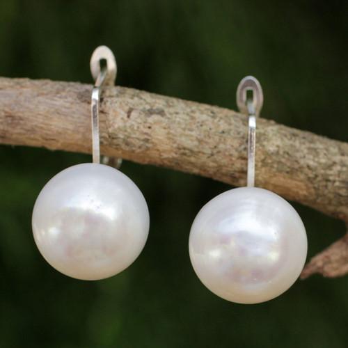 Fair Trade Cultured Freshwater Pearl Drop Earrings 'Pale Moon'